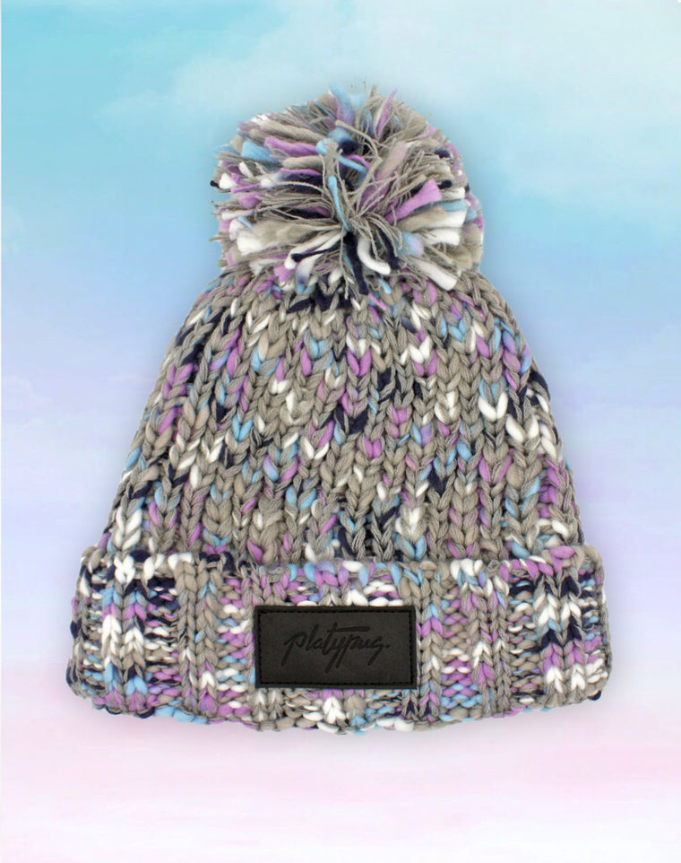 Mixed Grey Purple & Blue Big Knit Beanie Hat