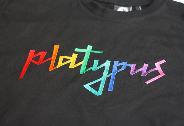 Platypus Rainbow Signature Embroidered Black T-Shirt
