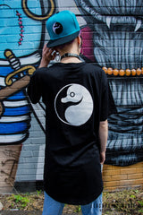 Platypus Streetwear Yin Yang design female model long body tee