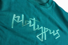 Close up of embroidered lettering unisex Teal Crewneck Crewneck Sweatshirt