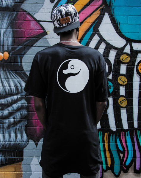 Yin Yang Platypus Long Body black unisex t-shirt