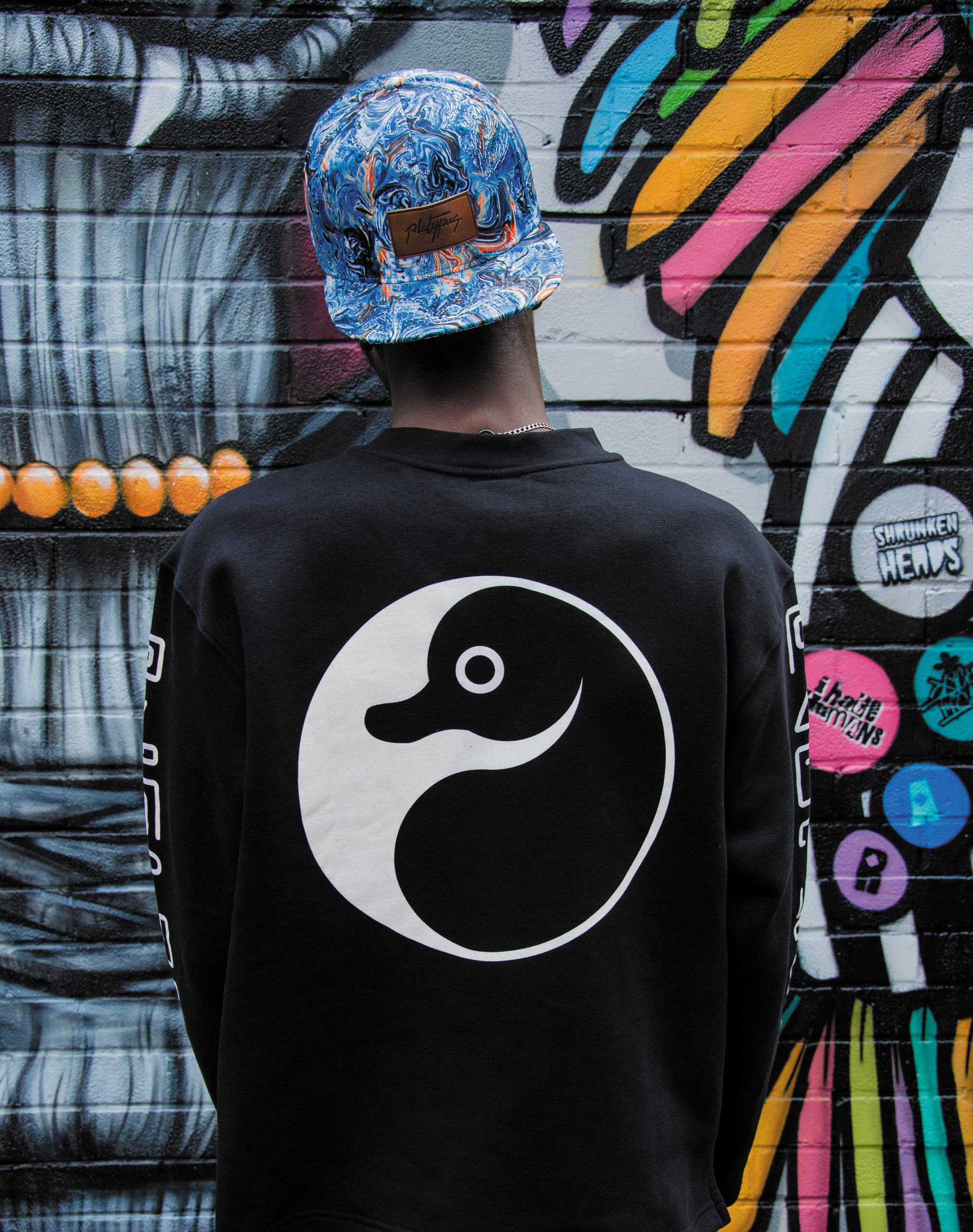 Platypus Streetwear clothing - Yin Yang open sleeve Sweatshirt with Typographic arm design