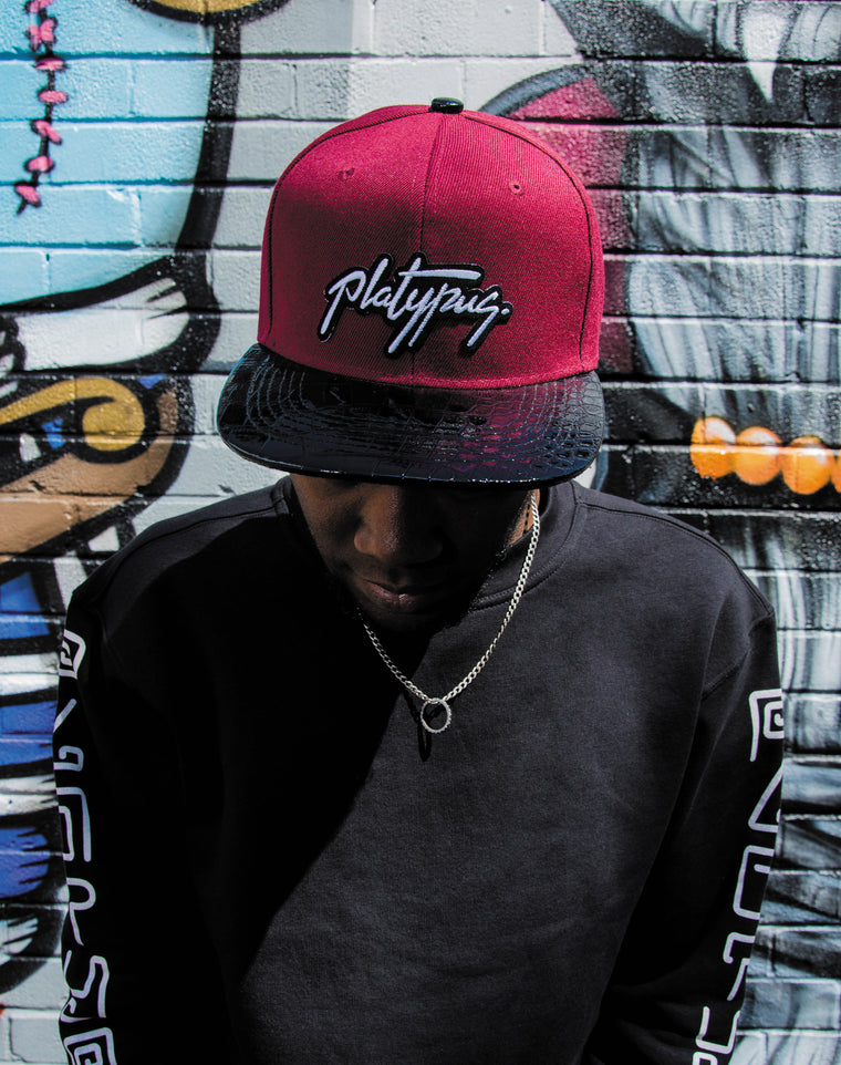 Platypus Signature Burgundy and Snakeskin Peak Snapback