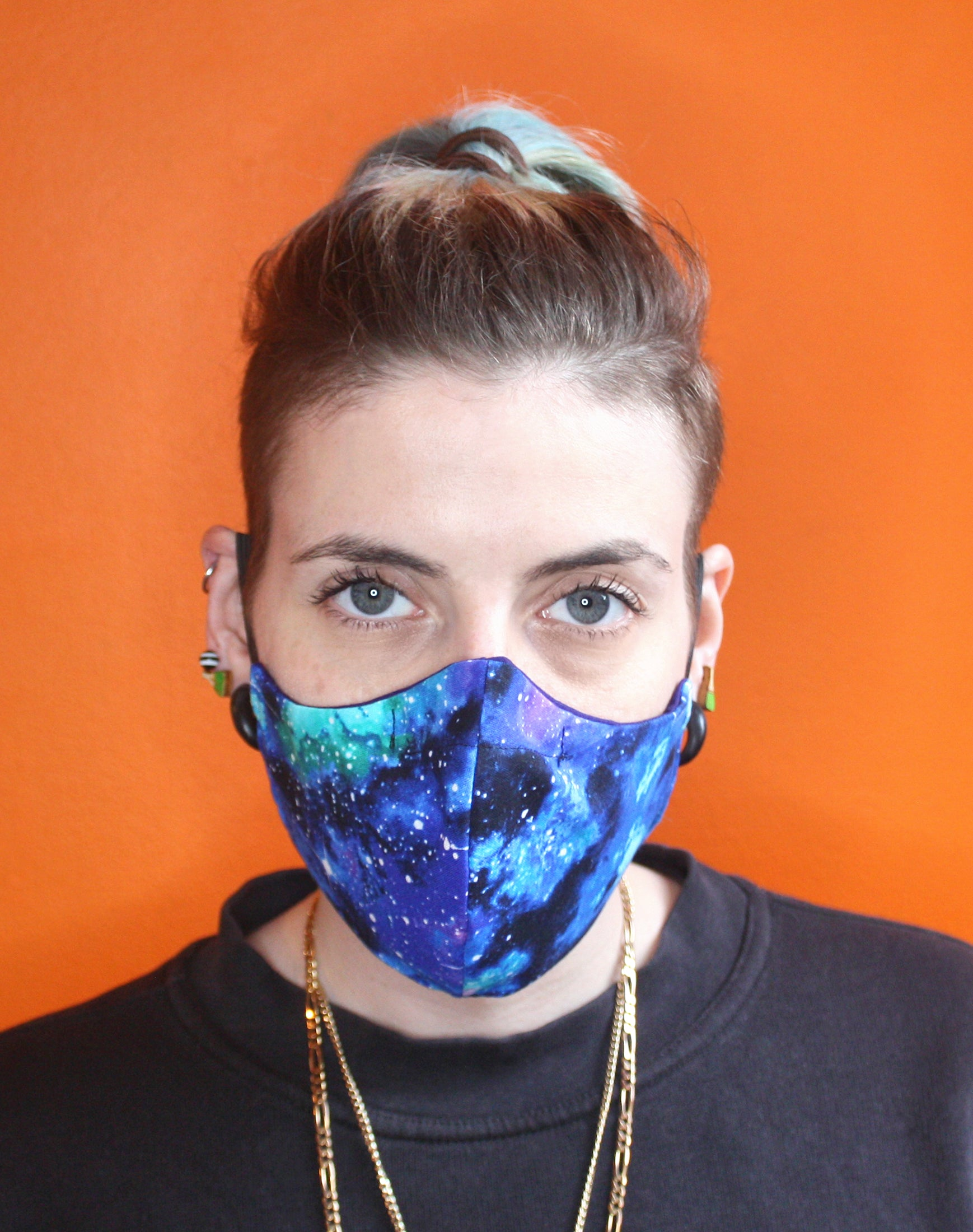 Space galaxy patterned unisex fitted fabric face mask uk