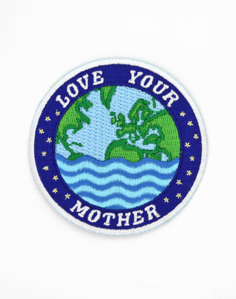 Love your mother embroidered badge - Fight climate change art by Maxine Abbott