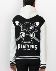 platypus posse back print of varsity hooded jacket