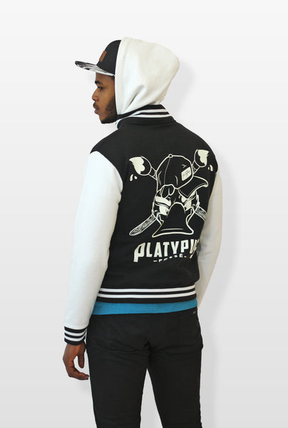 Platypus posse side view of unisex varsity hoodie on male