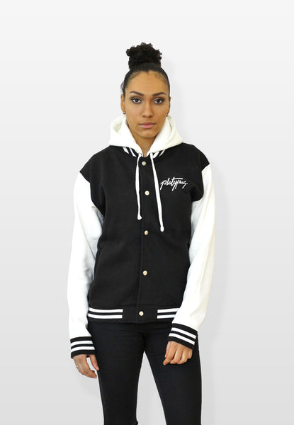 platypus posse front of varsity hooded jacket with logo patch