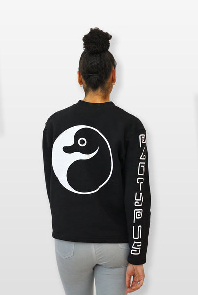 yin yang Platypus UK Sweatshirt on female model