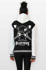 full platypus posse back of varsity hoodie