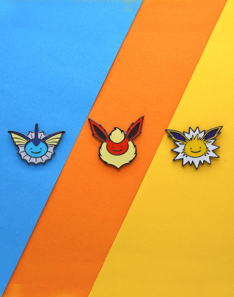 Eeveelution pokemon enamel pin set of 3. Jolteon, flareon & vaporeon ditto-face pin badge. Best pokemon pins