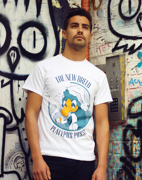 Model wearing The Platypus Posse T-Shirt