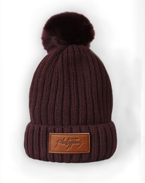 Platypus leather logo Plum faux fur Beanie