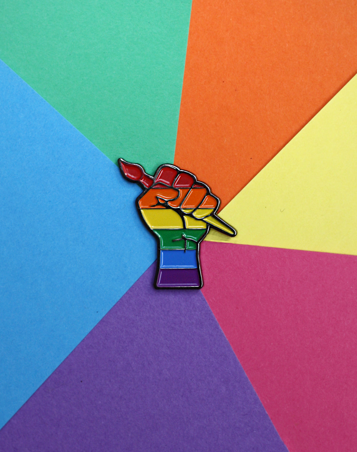 Rainbow LGBT Creative revolution power fist metal enamel pin badge