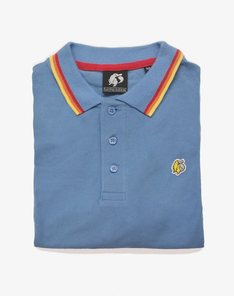 Folded Rainbow Tipped Blue Platypus Emblem Polo Shirt