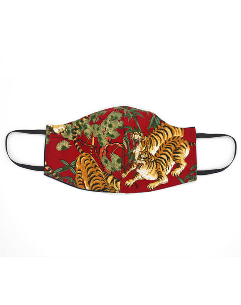 Luxury Japanese Tiger Pattern Red Cloth Fabric Mask