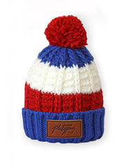 Thick knit Union Beanie with Platypus leather logo and removable bobble