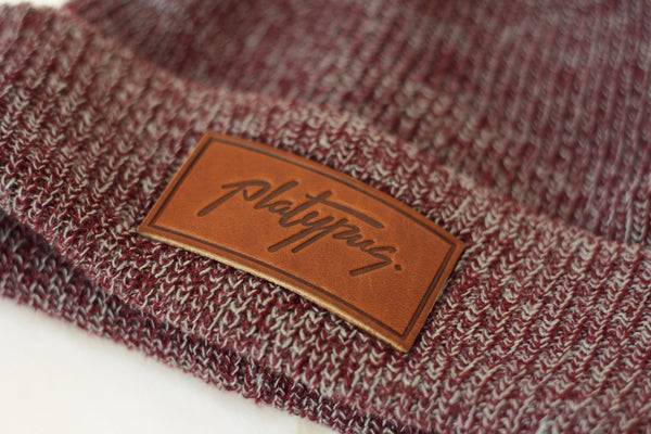 Heather Burgundy Beanie Leather Close Up