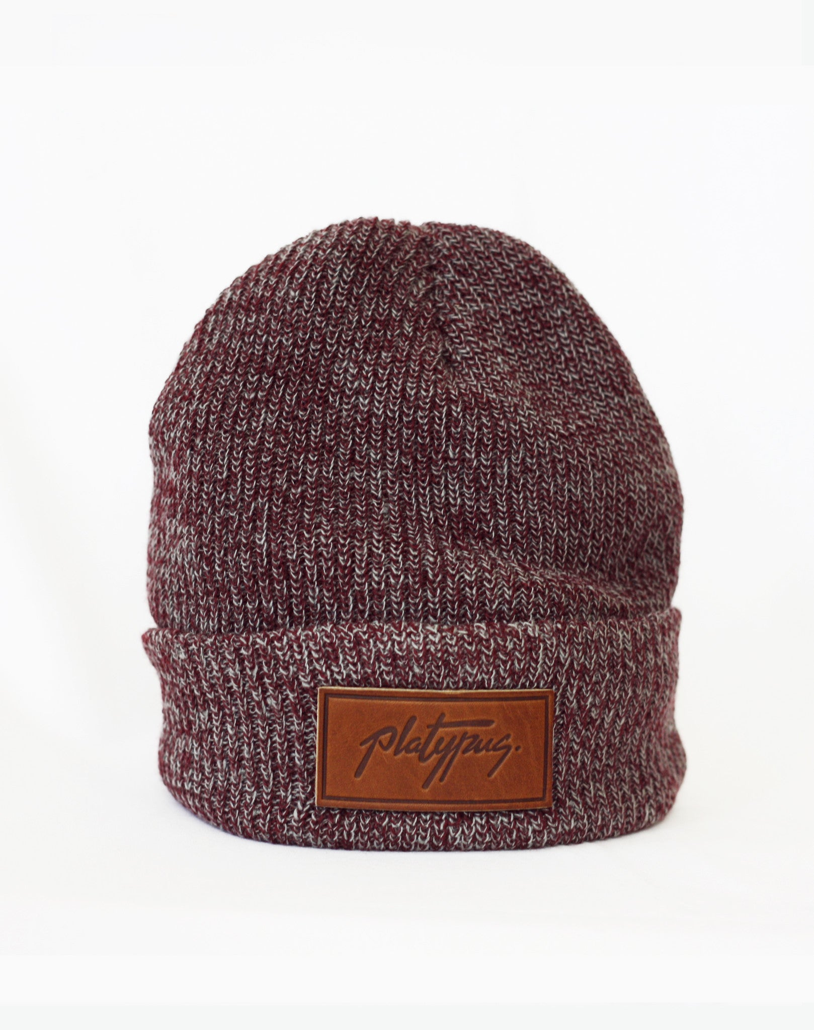 Platypus UK Heather Burgundy Leather Logo Beanie