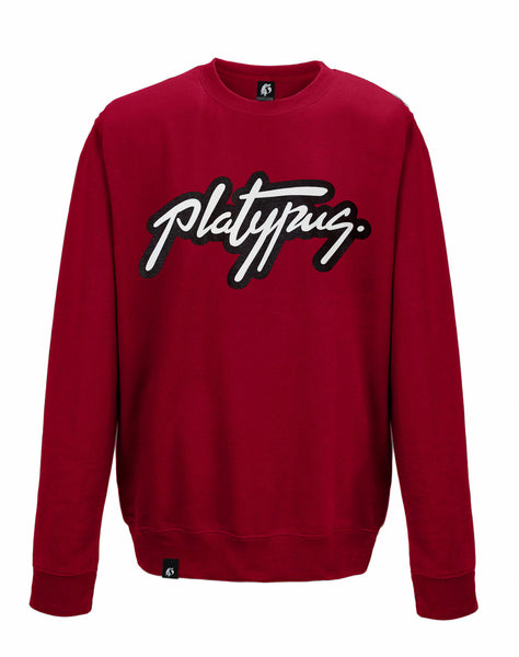 Platypus Logo Crewneck Sweatshirt in Chilli Red