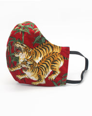 Red Unisex Japanese Tigers Luxury Fitted Fabric Face Mask