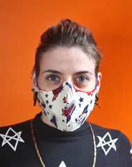 Model in unisex tattoo pattern fitted face mask