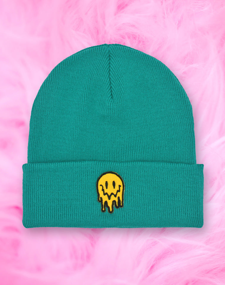 Drippy Melting Smiley Face Teal Beanie Hat