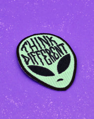 Glow in the dark alien iron-on patch Think different Platypus Streetwear Fashion