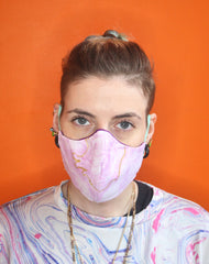 Unisex Pink Marble Pattern Cotton Cloth Fabric Mask