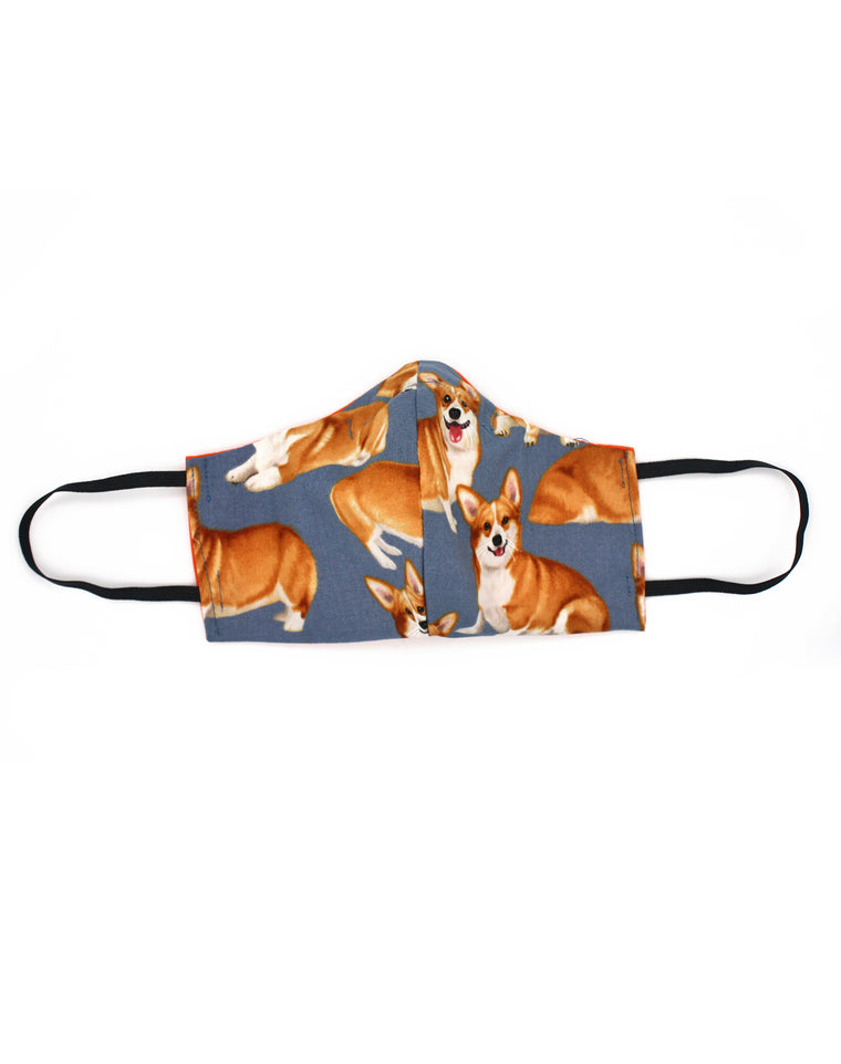 Queen's Corgis Luxury Fitted Fabric Face Mask