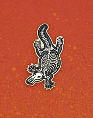 Platypus Skeleton Gold Enamel Pin Badge - Weird to the bone designer pins