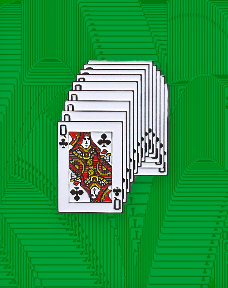 XL Queen of Clubs Solitaire Enamel Pin Badge