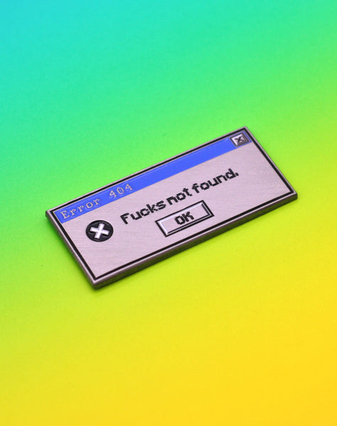 90s 80s vaporwave aesthetic Windows Error 404 Brushed Metal Enamel Lapel Pin