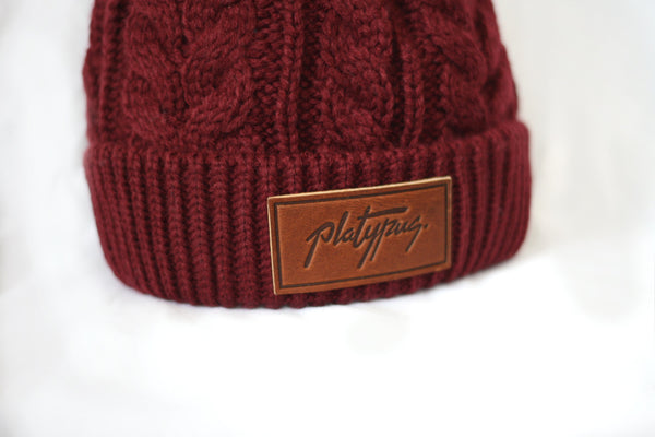 Red Wine Cable Knit Beanie