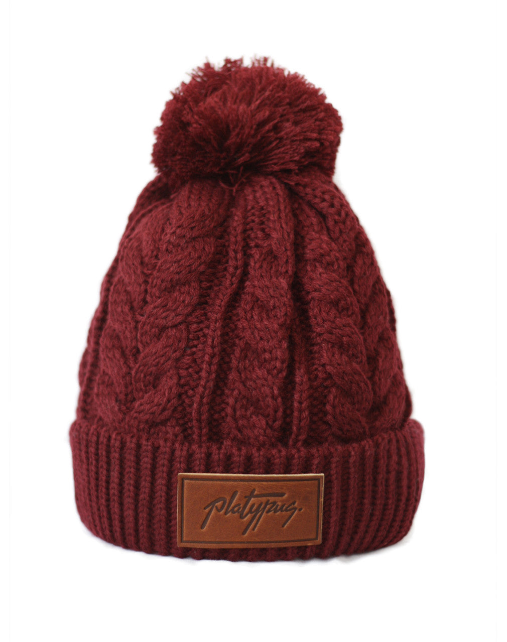 Red Wine Cable Knit Beanie with Platypus leather logo