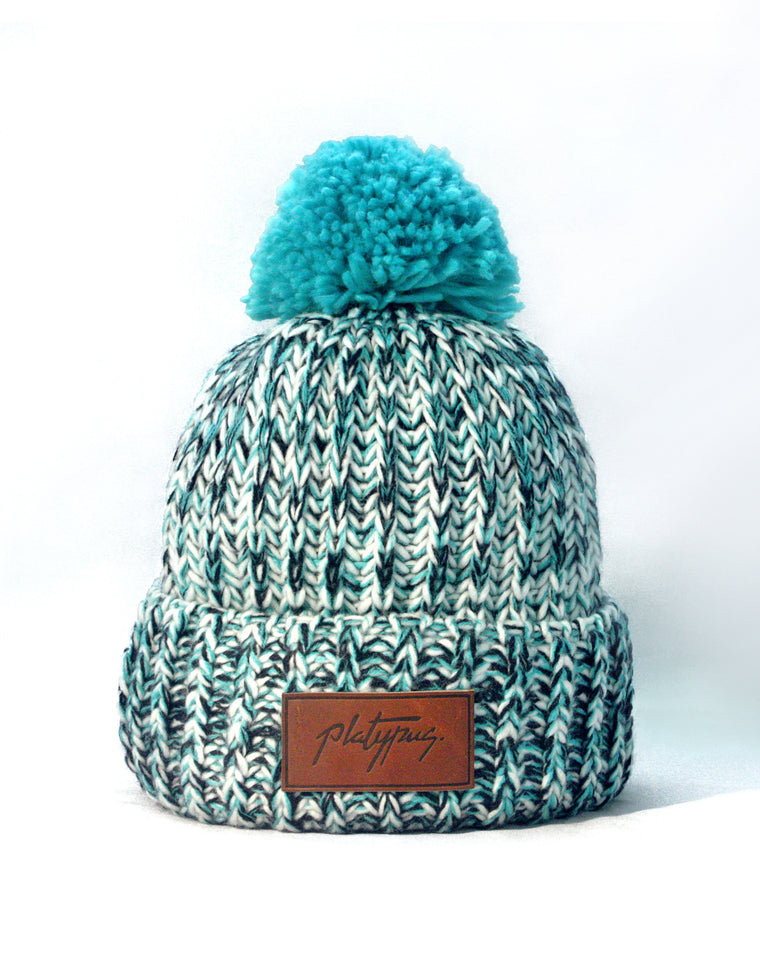 Turquoise Big Knit Beanie