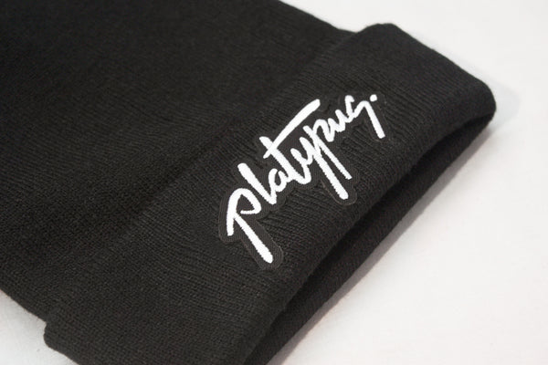 Close up of Platypus Independent Clothing Signature Patch Beanie