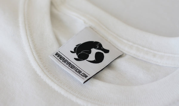 Close up of official Platypus Woven Label