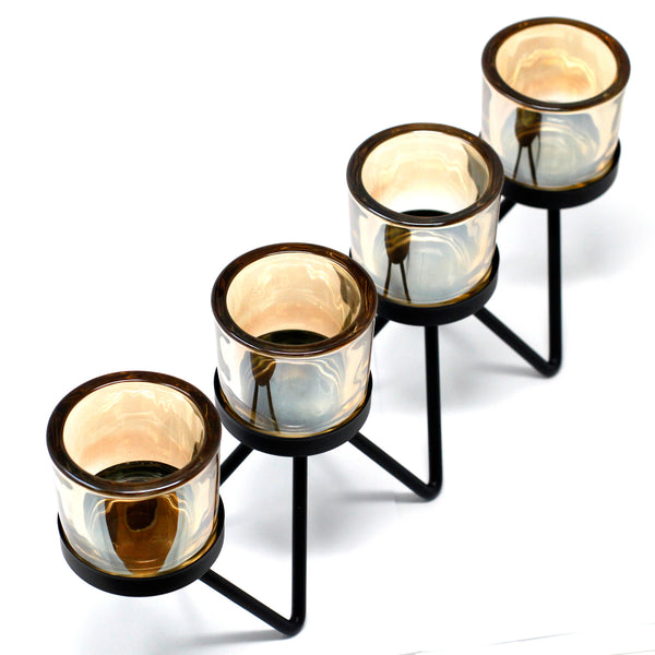Centrepiece Iron Votive Candle Holder - 4 Cup Zig Zag - Aromatherapy