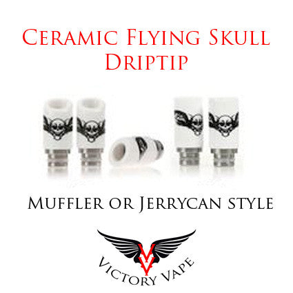 Ceramic Winged Skull Driptip - Jerrycan or Muffler style