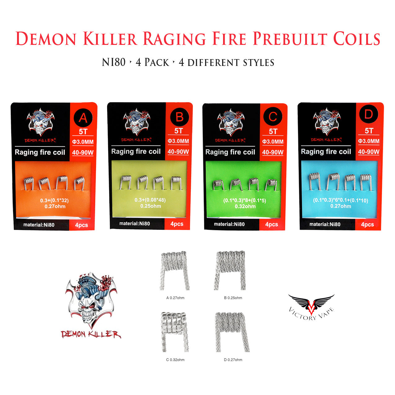 Demon Killer Raging Fire NI80 Prebuilt Coils • 4 Pack