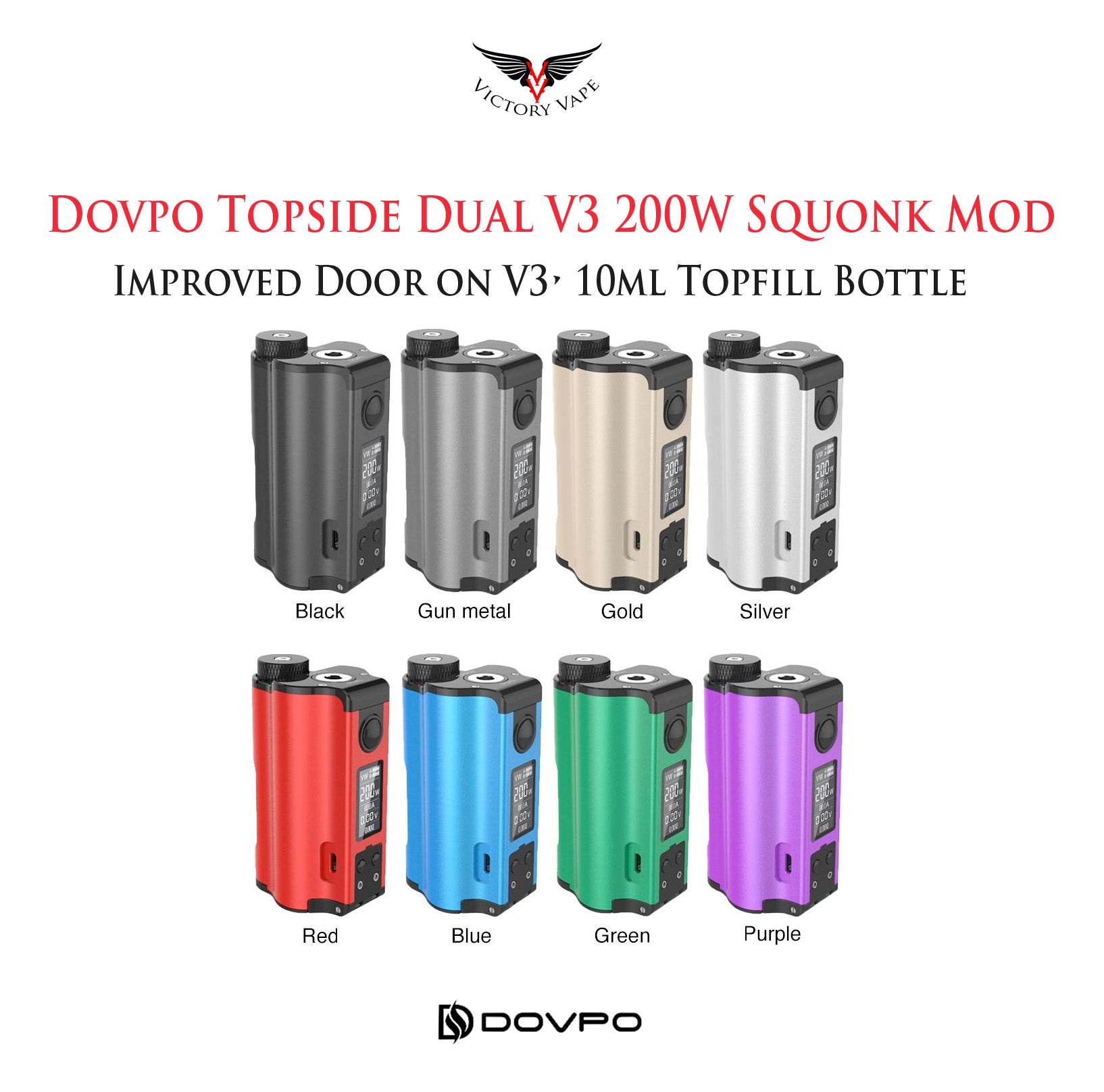 Dovpo Topside V3 Dual 200W Top Fill • 10ml vv/vw Squonk Mod