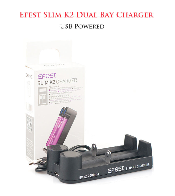 Efest Slim K2 Dual Bay Battery Charger • USB