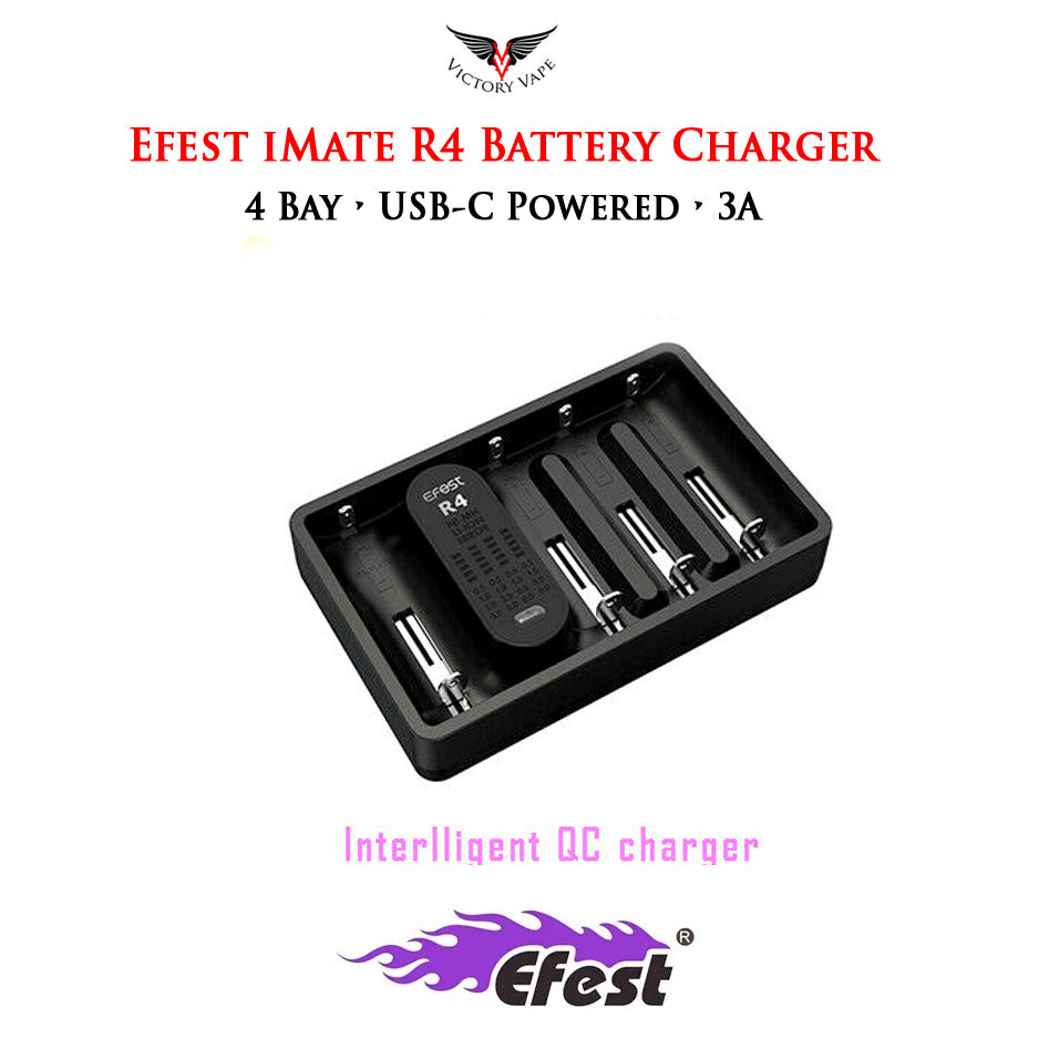 Efest iMate R4 3A Speedy Intelligent Battery Charger • 4 Bay USB-C Powered