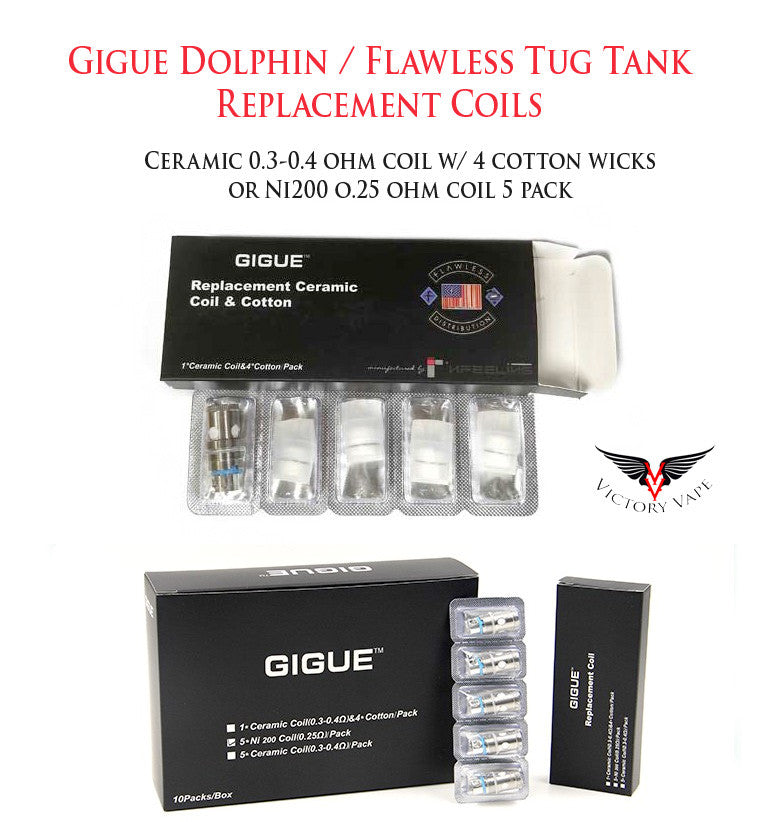 tugboat tank ni200 Gigue Replacement Ceramic Coil Gigue Dolphin gigue coils ceramic Flawless Tug tank Flawless