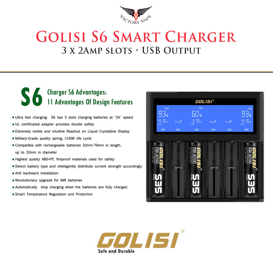 GOLISI S6 Smart Charger • 6 Bay Battery Charger
