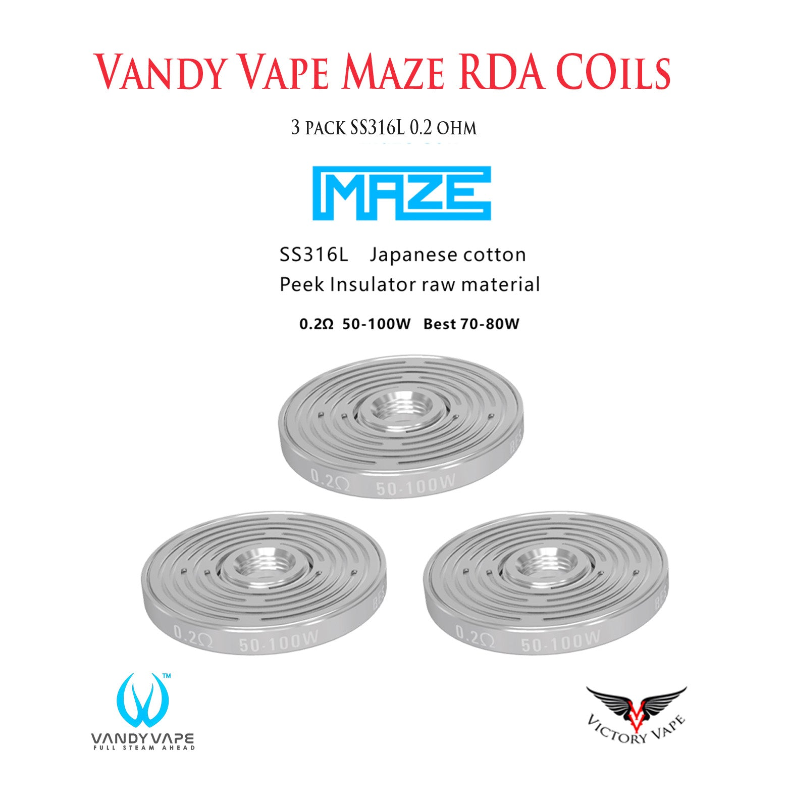 Vandy Vape Maze Replacement Coils • 3 Pack 0.2Ω