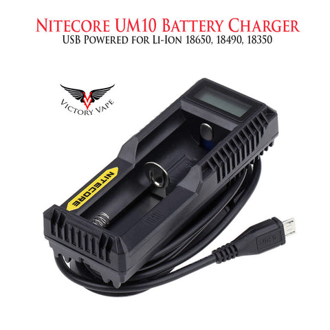 Nitecore UM10 USB Li-Ion battery charger • single bay 18650,18490,18350