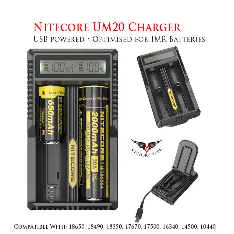 Nitecore UM20 Li-ion USB Battery Charger - Dual Bay