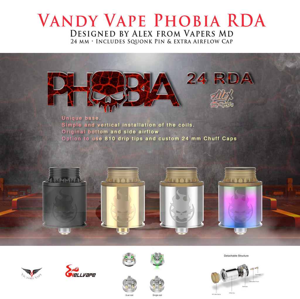 Vandy Vape Phobia RDA • by Alex from VapersMD • 24mm w/ BF Pin & extra Airflow Cap